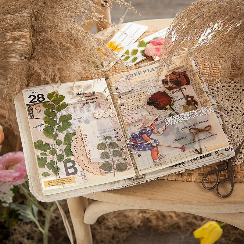 Weekend flower shop series Decorative Stickers Scrapbooking Stick Label Diary Album stationery Vintage plant Sticker Accessories