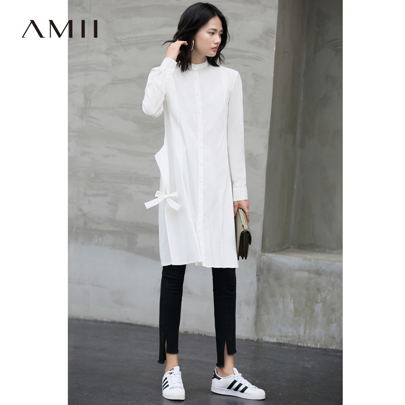 Amii Minimalist Long Shirts Autumn Women Solid Stand Collar Bandage Loose Female Mid Long Pullover Shirt 11880077