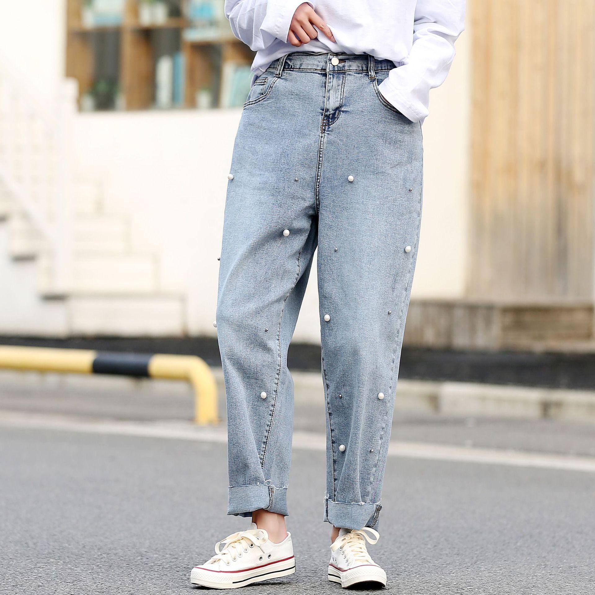 Lady Jeans Spring Plus Size Harem Pants Women Stretch Denim Trousers Blue Female  Beaded Jeans 2020 D6-9246