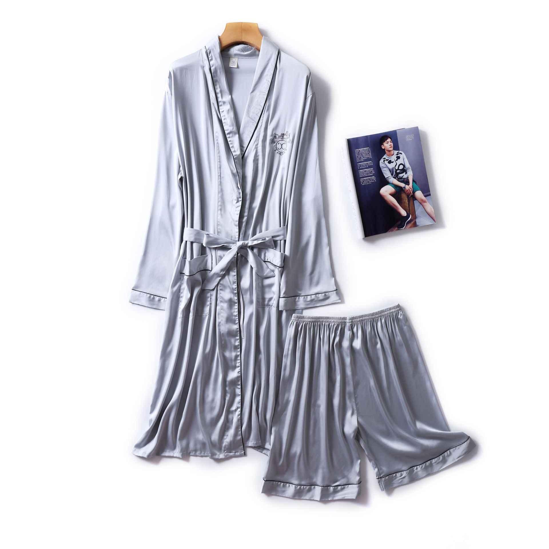 Темно-синий мужской Халат Короткие штаны Пижама Костюм Весенний комплект одежды для сна из двух предметов Повседневная Домашняя одежда ночное кимоно для сна банное платье
