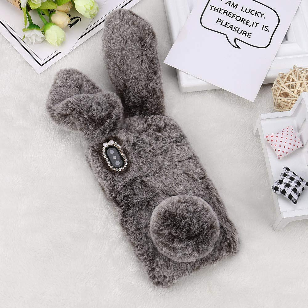 Rasti për Huawei Y6 2019 Honor 8A 8C Y7 2019 Case Plush Bunny Rabbit Rhinestone Cover Cover Soft For Huawei Honor 8S Y5 Y9 2019 Case