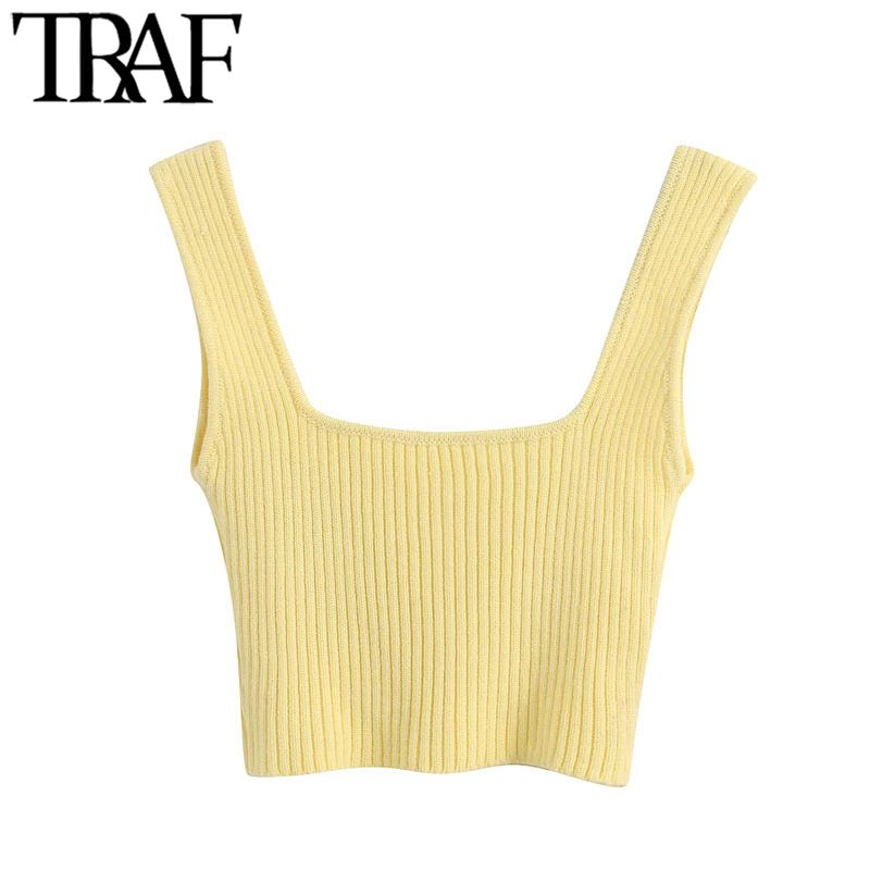 TRAF Women Sweet Fashion Stretch Slim Knitted Cropped Blouses Vintage Square Collar Straps Female Shirts Chic Tops