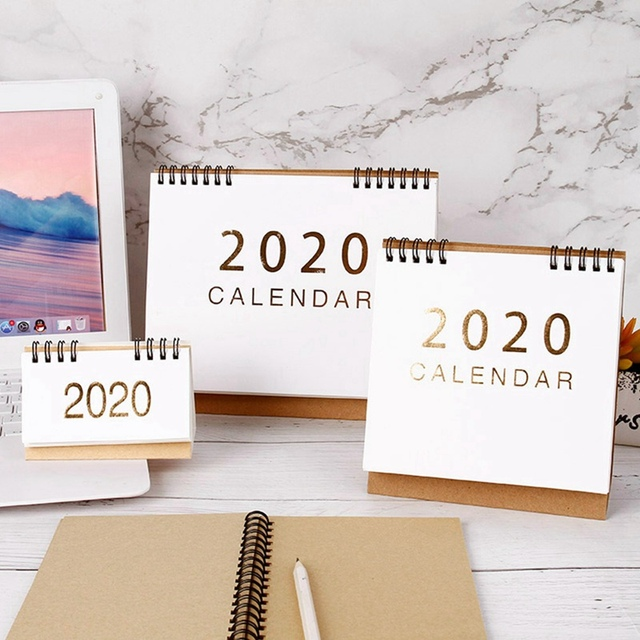 New 2020  Large Medium Small Vertical Kraft Paper Calendar Simple Desktop Calendar Daily Schedule Planner Office School Supply 1