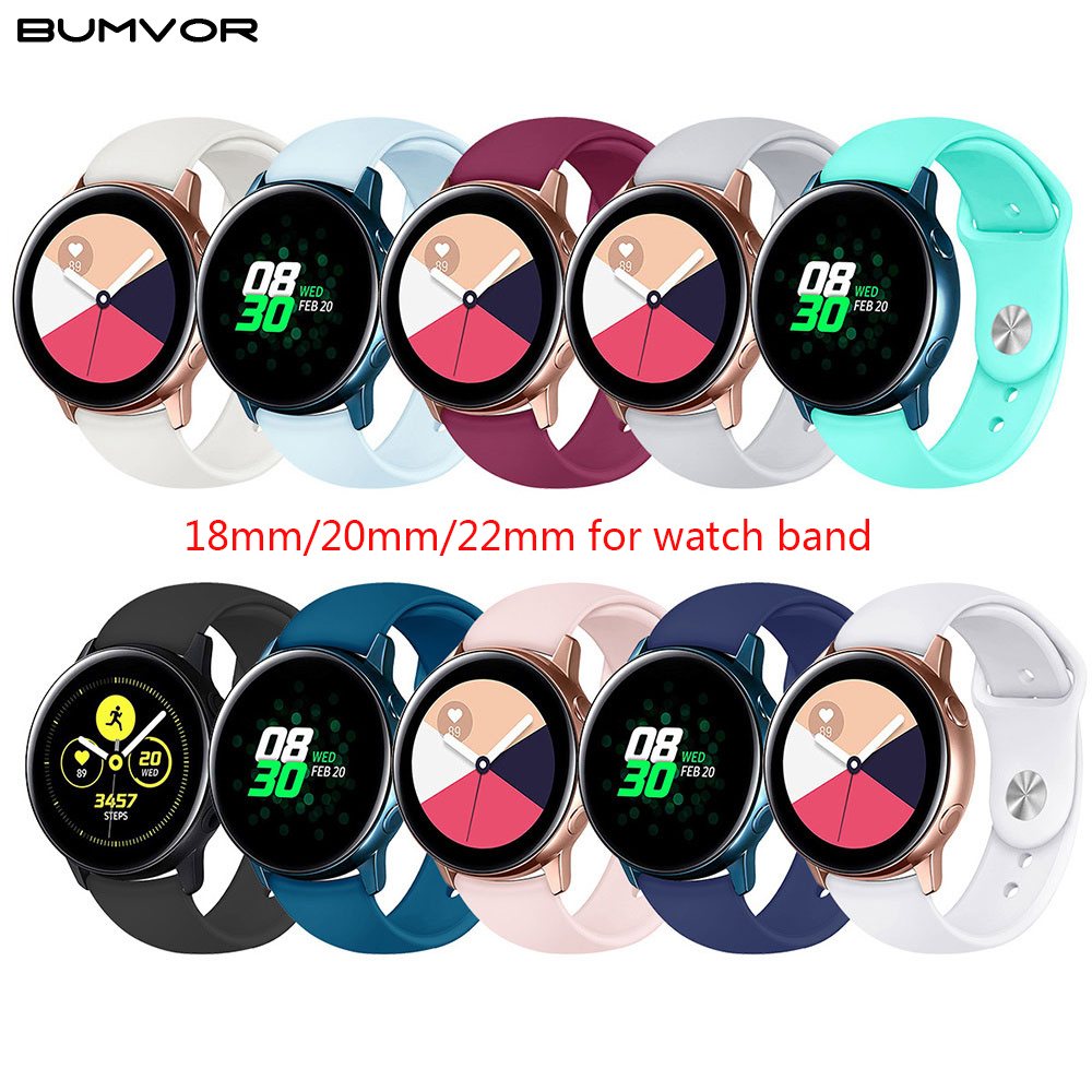 Watch Strap 22mm 20mm For Samsung Band Galaxy Watch Active 46mm Gear S3 Frontier 42mm Huawei Watch Gt Strap Silicone Watchband
