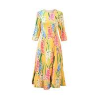 High Quality 2020 Spring New Arrival Fashion O Neckl Wrist Flower Pattern Print Elegant Mid Calf Zipper Dress Women Casual