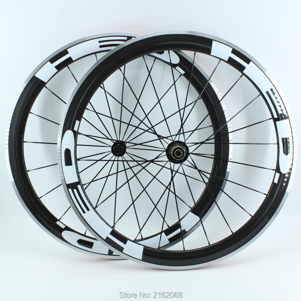New arrival OEM 700C Road bike 50mm clincher rims 3K carbon bicycle wheelsets with alloy brake surface aero spokes Free shipping