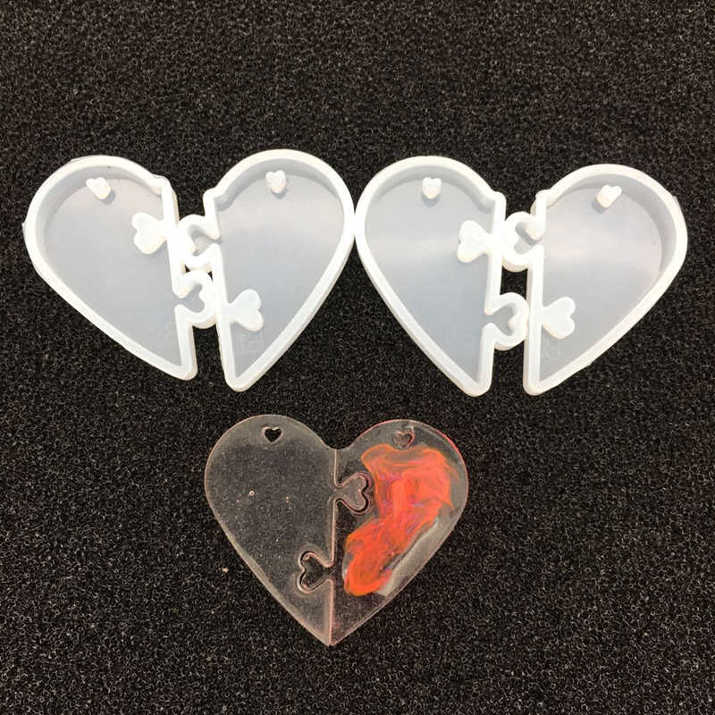 2019 2Pcs Heart locks for lovers Couples Pendant Liquid Silicone Mold DIY Epoxy Resin Mould Jewelry Maing Tools 5 x 2..5cm