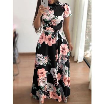 Plus Size Spring Autumn Womne's Dress Bohomia Flower Print Maixi Dresses Fashion Belt Tunic Boho Eveing Party Midi Dress Vestido 6
