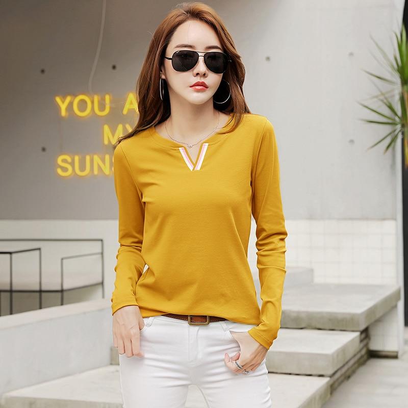 New Model Women's Clothing V-neck Long-Sleeved T-shirt Women Women's Blouses Women's Clothings