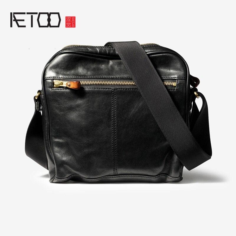AETOO Men's shoulder bag, leather fashion trend slant bag, casual vintage postman bag