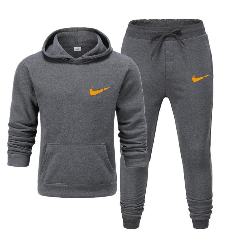 Новый фирменный мужской термо спортивный костюм для бега, мужские спортивные комплекты, флисовая Толстая Толстовка с капюшоном + штаны для бега, мужской костюм с капюшоном