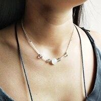 Lii Ji Genuine Stone Moonstone Labradorite S925 Sterling Silver Delicate Necklace For Women Jewelry