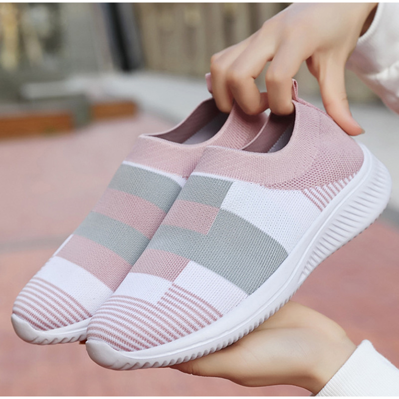 Sock Shoes Women Sneakers Female Knitted Vulcanized Shoes Loafers Breathable Causal Flat Shoes Schoenen Vrouw Chaussure Femme