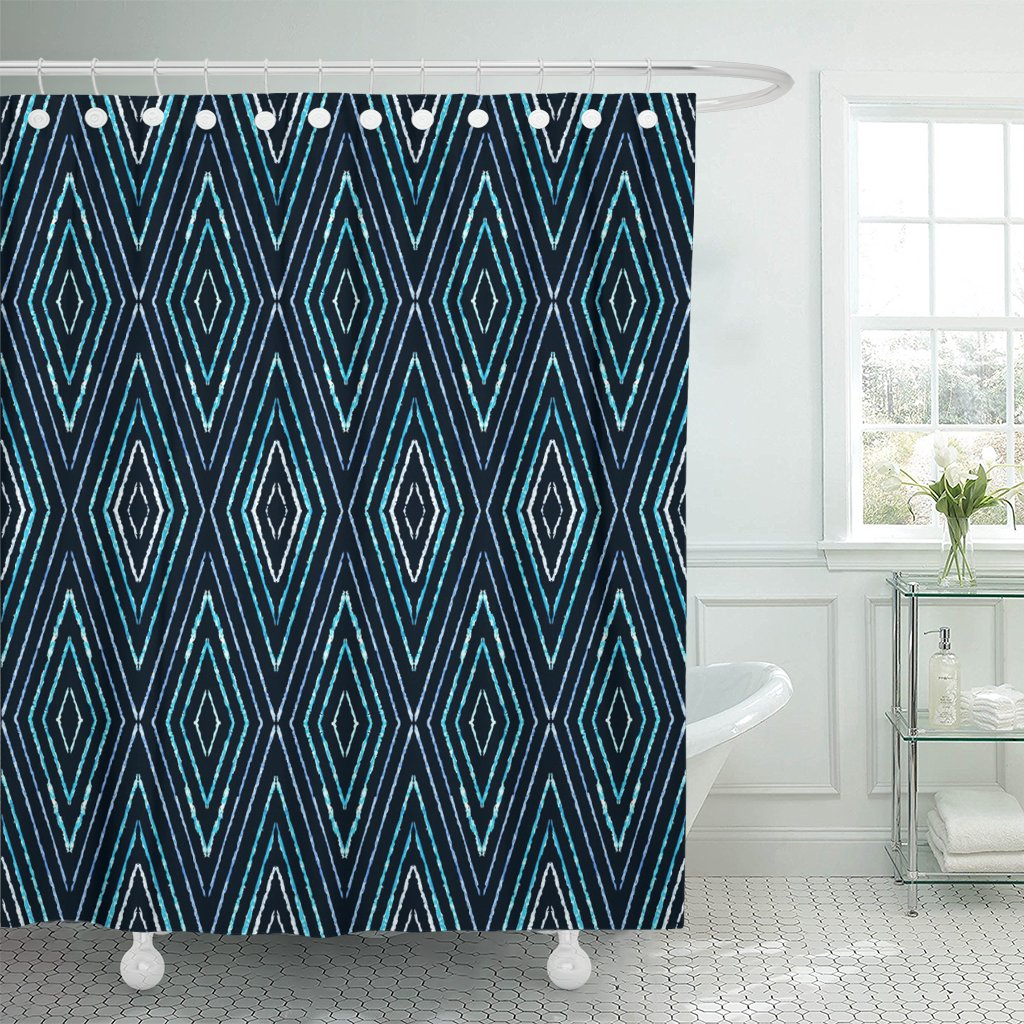 blue ikat tweed herringbone pattern chevron tribal abstract chalk shower curtains waterproof polyester fabric 60 x 72 inches set