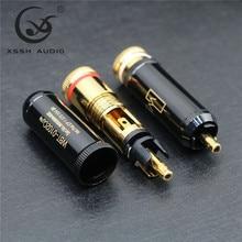 4 pces hi-end banhado a ouro cobre puro alta fidelidade xssh áudio vídeo conectores tv sintonizador rca saída plug plugues jack