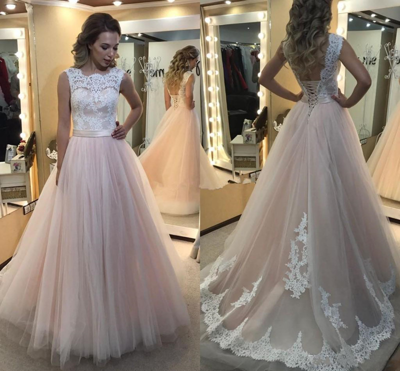 CheapTulle   Prom     Dress   with Lace Appliques Backless Custom Made A Line Party Gowns Lace Up Back Jewel Neck Sleeveless Vestidos
