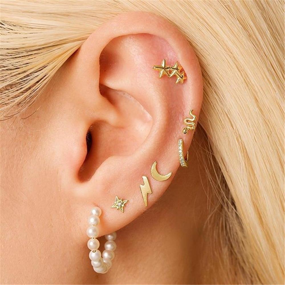 MLING 7 Pcs/Set Vintage Gold Crystal Earrings Bohemian Pearl Moon Snake Star Lightning Earrings For Women