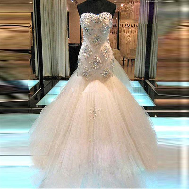 Sexy Sweetheart Tulle Lace Beaded Bling Bling Crystal Mermaid Wedding Dress 2020 Slim Fitted Women Fashion Bridal Gown Luxurious