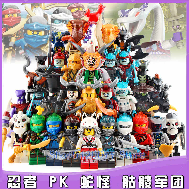 Single Sale Ninja Gold Pyro Snakes Ice Akita Emperor Char General Vex Archer Sword Master Weapon Building Blocks Toys BR262