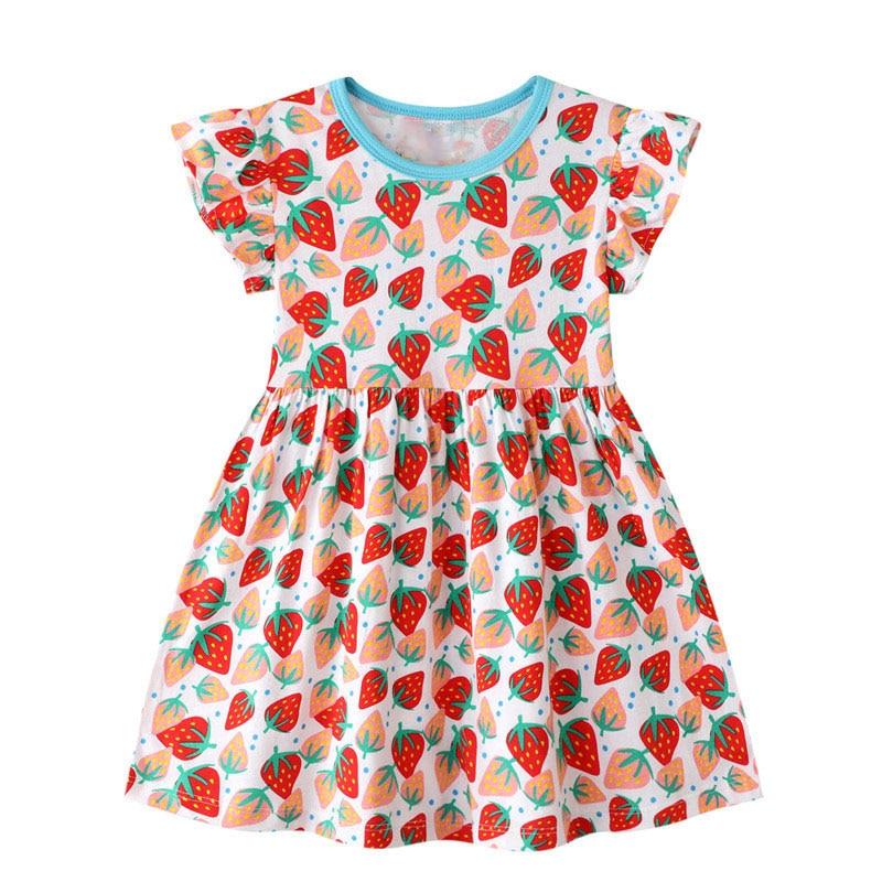 2020 Girls Dress Strawberry Dresses Vestidos Kids Clothes Sukienki Baby Girl Summer Dress Robe Fille Vestido Infantis Menina New