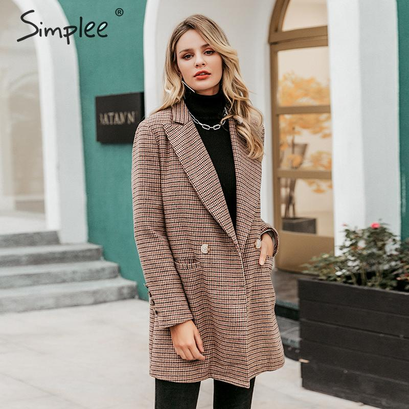 Simplee Vintage Office Ladies Plaid Blazers Long Sleeve Buttons Pockets Female Blazer Coat Elegant Autumn Winter Women Jackets