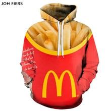 JOH FIERS  new 3D hoodie mens / womens long sleeve printed French fries fashion street sweatshirt XXS-6XL