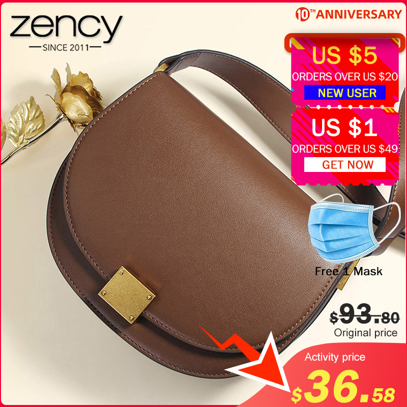 Zency New Fashion Handbag 100% Genuine Leather Retro Women Messenger Bag Horseshoe Buckle Simple Semi-circle Saddle Purse