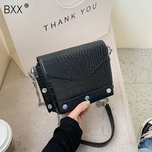 [BXX] Crocodile Pattern Lady PU Leather Chain Crossbody Bags