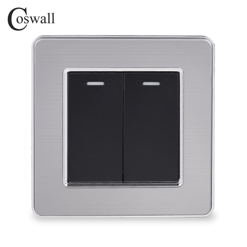 Coswall 2 2 Gang Way Luxo Interruptor de Luz On/Off Passar Através de Interruptor de Parede Interruptor Do Painel de Aço Inoxidável AC 110 ~ 250V