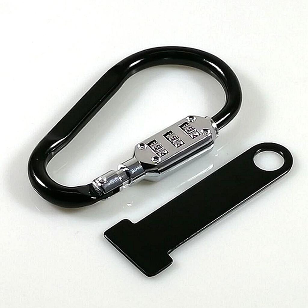 1Set Motorcycle Helmet Combination Code Lock + T-Bar Rubber Anti-theft Black