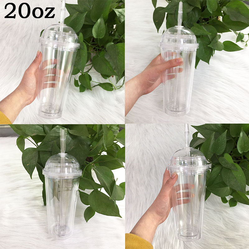Clear Plastic Cups With Dome Lids Straw For Cold Drink 20oz Tumbler Summer Smoothie Cup Portable Water Bottle For Party Cups