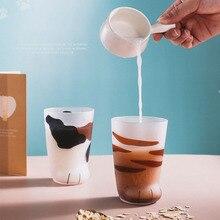 Творческий милый кот лапы тигровые лапы стеклянная кружка чашка прозрачный кофе чай сок напитки для десерта, завтрака молока особенный подарок