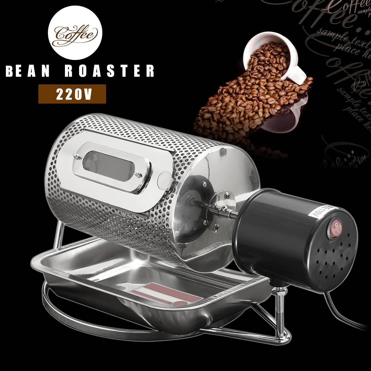 Becornce Stainless Steel Coffee Bean Roasting Machine Coffee Roaster Roller Baker 220V Tools Baking Fry Peanut Grain Nuts Dryer(China)
