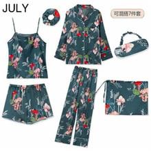 Womens Imitation Silk Pajamas Pyjamas Set Long Sleeve Sleepwear Pijama Suit Female Sleep SEVEN Piece Loungewear