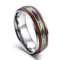 Anillo de carburo de tungsteno de plata Somen 8mm de lujo madera y concha de abulón para hombre anillos De Compromiso anillos hombre