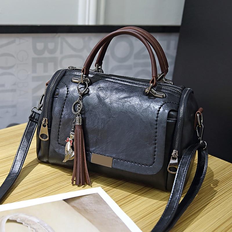 Duzeala 2019 New Arrival Fashion Woman Bag for Ladies Retro PU Leather Bag Female Tassel Zipper Crossbody Bags