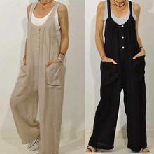Harem Overalls Jumpsuits Cotton Casual Women Bib Linen Solid Long