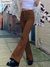Jean marron taille haute pour femme, vêtement streetwear non défini