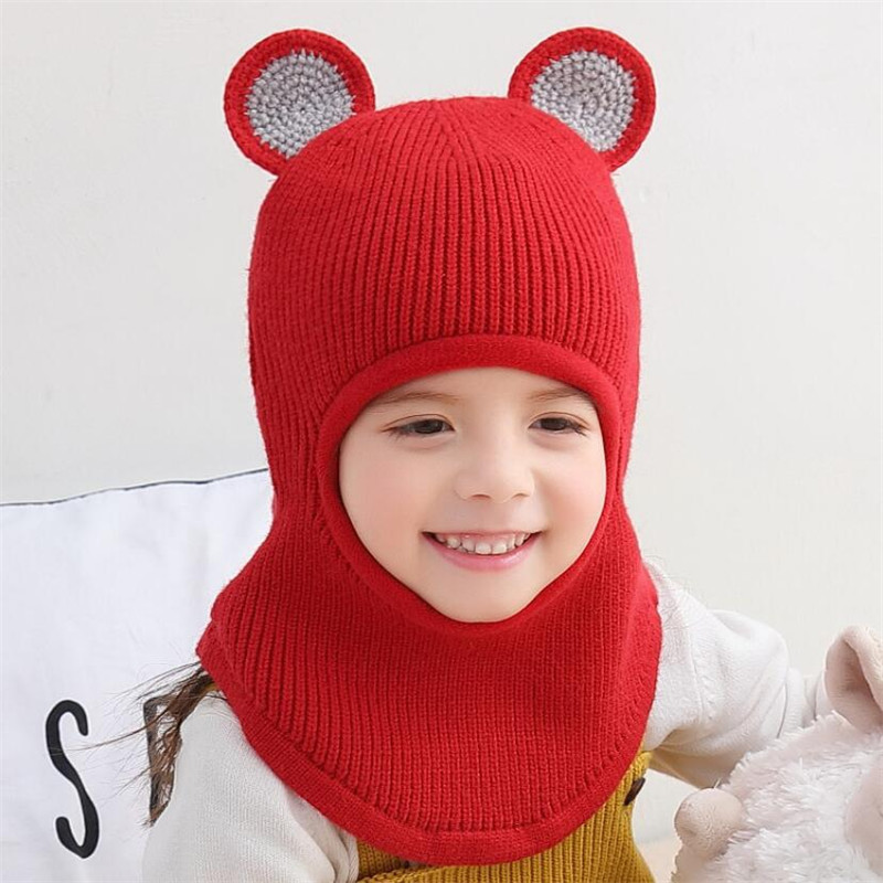 2019 Knit Short Plush Hooded Scarf Kids Hat And Scarf Child Winter Warm Protection Ear Cap Circulal Scarves Girl Boy Accessories