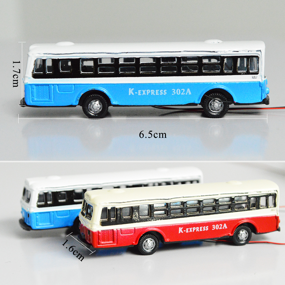 1/150 Toy Alloy Luminous Model Bus Collection Building Transportation Train 5pcs Sand Table Making Simulation Scene Can Glow