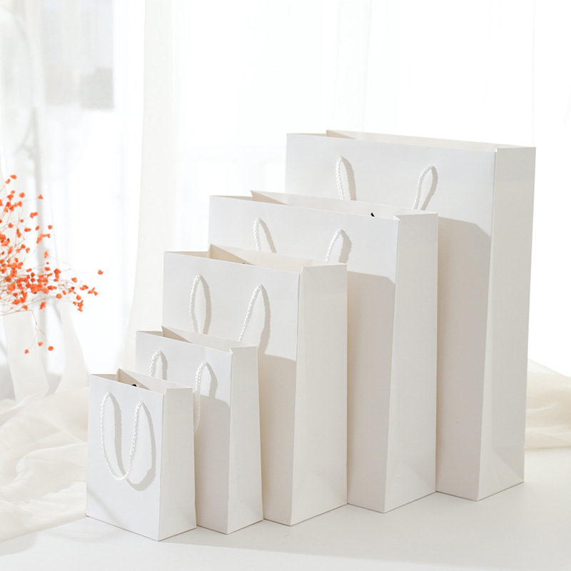 White Paperboard Gift Bag Paper Clothes Package Birthday Festival Christmas Party Gift Bag Various Sizes 40x10x30cm