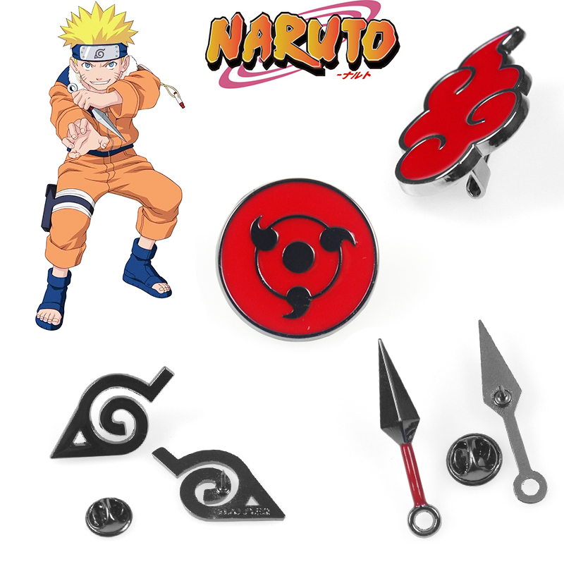 Naruto Cosplay Brooch Prop Akatsuki Costumes Metal Enamel Pin Men Lapel Badge Anime Accessories