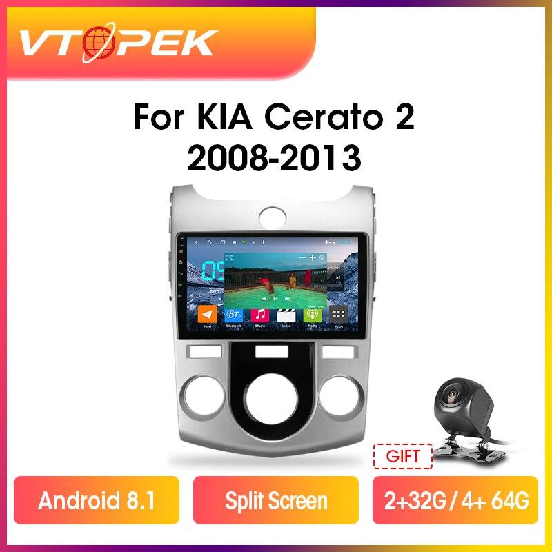 "Vtopek 9 ""4g + wifi 2din android rádio do carro multimídia navegação gps dsp ips para kia cerato 2 td 2008-2013 unidade principal"