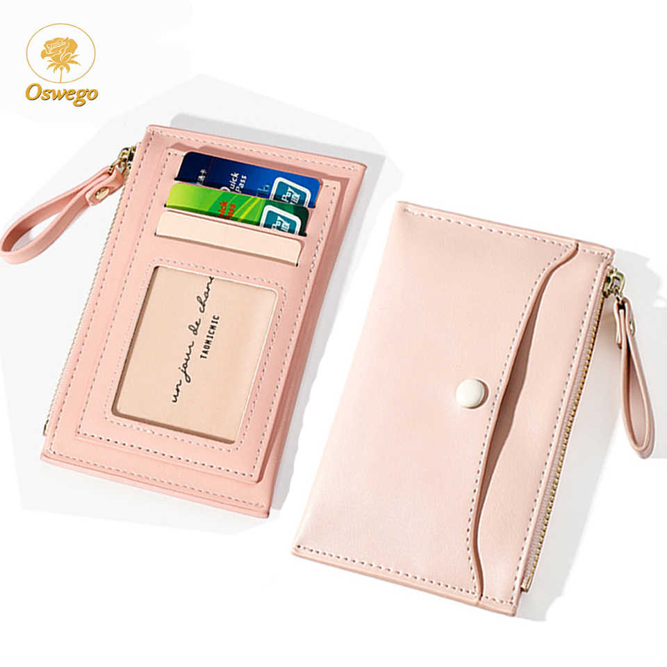 Oswego Women Card Wallet Leather Zipper Mini Cute Credit Card Holder Coin Purse 2019 New Multi-function Card Case Gift For Girls