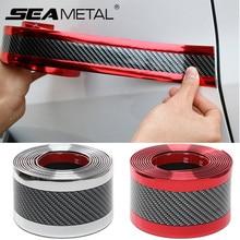 Protector de goma de fibra de carbono 5D para umbral de puerta, pegatina para coche, Tira protectora de parachoques para coche, accesorios exteriores
