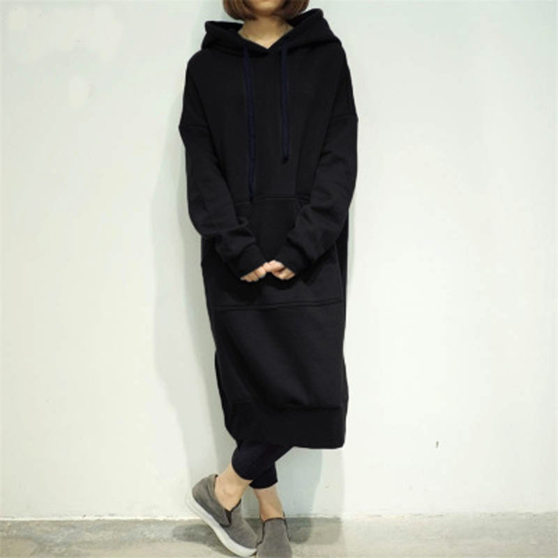 Meihuida Autumn Winter Fashion Women Casual Hooded Loose Long Sleeve Pollover Split Solid Sweatshirt Midi Long Dresses