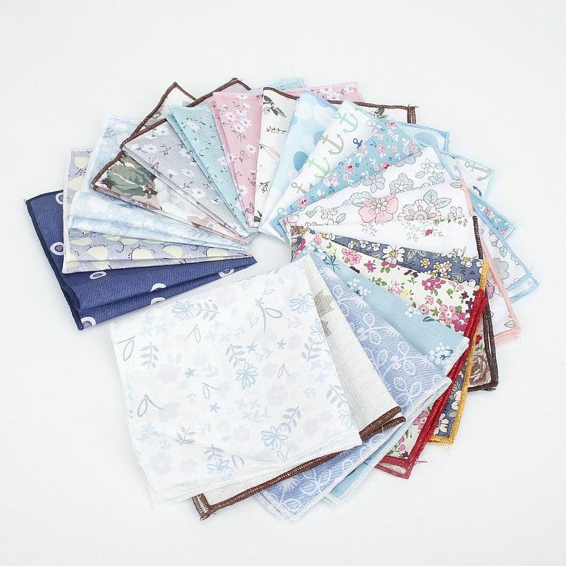 Kids Retro Handkerchief Scarves Vintage Cotton Hankies Men's Pocket Square Children Flower Print Casual Vintage Handkerchiefs