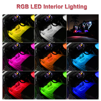 Car Interior Atmosphere LED RGB Strip Light Dash Floor Foot RGB LED Strip Decorative Light Music sound Control Multiple lighting 6