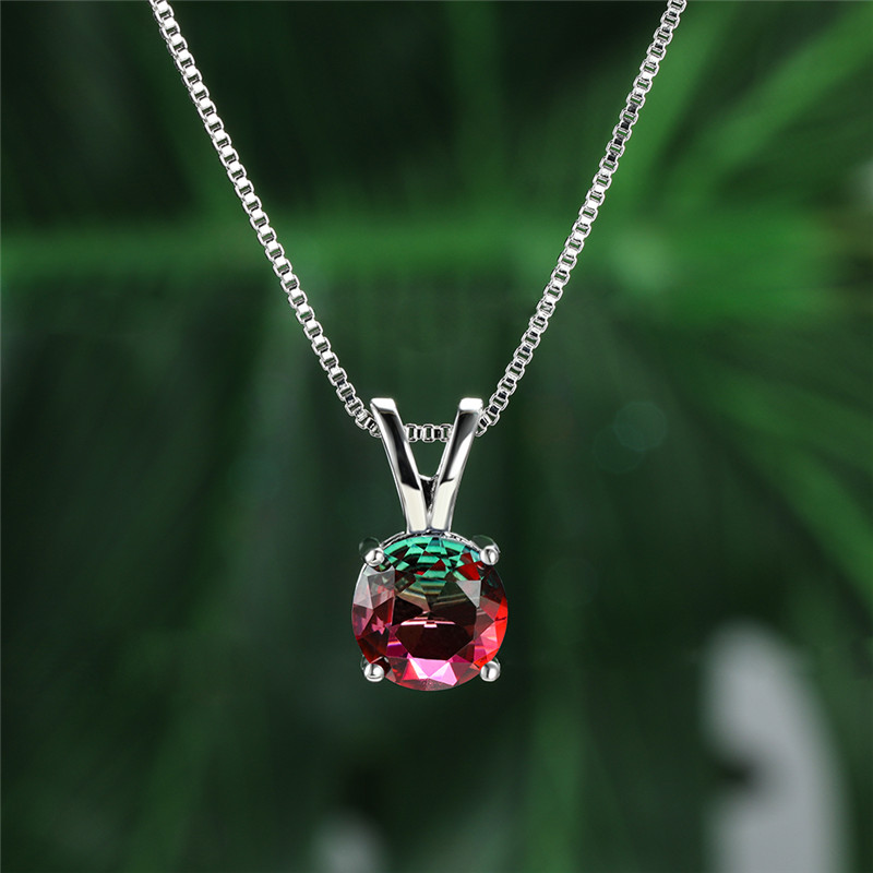 8MM Round Rainbow Crystal Zircon Pendant Necklaces For Women Minimalist Jewelry Vintage Fashion Silver Color Necklace Party Gift|Pendant Necklaces| - AliExpress