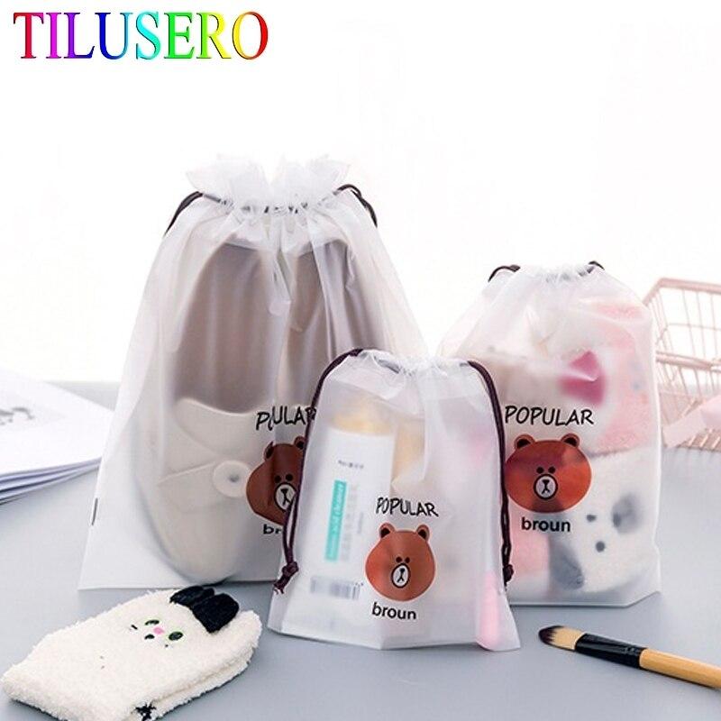 Bear Transparent Cosmetic Bag Travel Makeup Case Women Zipper Make Up Bath Organizer Storage Pouch Toiletry Wash Beaut Kit